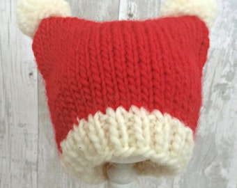 Knitted Kids Santa Hat, Teen Santa Hat, Santa Hat Teen, Kids Christmas Hat, Hand Knit Kids Hats, Kids Pom Pom Hat, Hat With Ears
