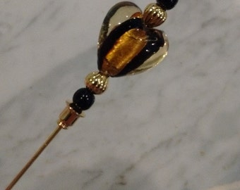 Hat Pin or Lapel Pin 3 inches with heart lampwork bead in gold and black