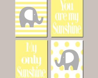 Elephant Nursery Art, Yellow Gray Nursery, You Are My Sunshine, Wall Art, Boy Nursery Decor, Nursery Prints, Set of 4 Prints Or Canvas