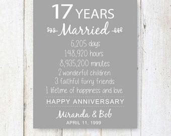 17th anniversary gift 17 years of mariage wedding anniversary ...
