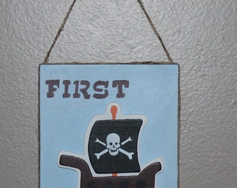 Boys room, wood sign, first mate, pirate ship, wall hanging, home decor