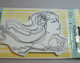 Prima Marketing Bloom Girl GARDENIA Rubber Cling Stamp   by Prima