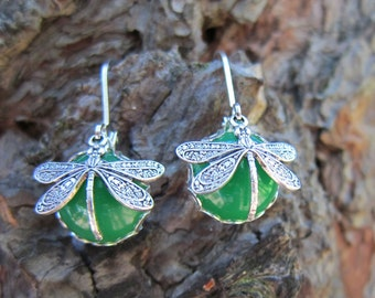 Dragonfly earrings, dragonfly Green 12mm glass bronze or silver