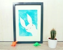 Bunny Watercolor Illustration, Original Painting, Kawaii Art Kids Room, Nursey Decor, Bright Blue Woodland Animal Artwork, Spring Decor
