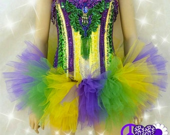 Custom Corset and Tutu, Mardi Gras Inspired; Purple, Green, and Yellow, Rave Bra Brasier Dance Costume Custom Electric Daisy Carnival