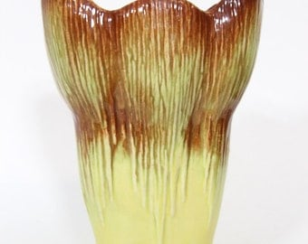 Vintage McCoy Flower Form Vase Yellow and Brown