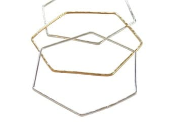 Hexagoned Bangle; Hexagon Jewelry; Brass Hexagon Bracelet; Sterling Silver Hexagon Bracelet; ; Hexagon Bracelet; Geometric Bracelet