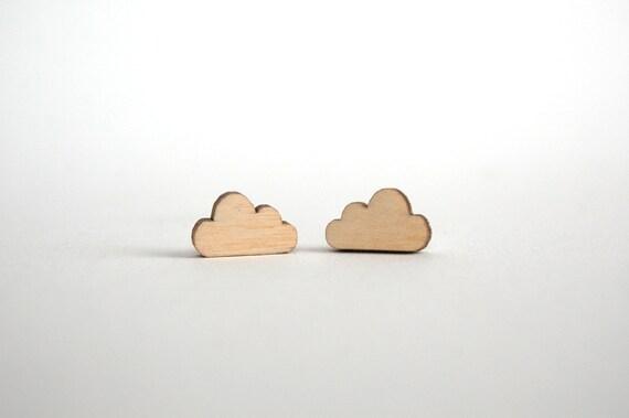 Ohrringe Aus Holz FUr Männer ~ Wolken Ohrringe, Schmuck aus Holz, Wolke, Wolken, Ohrstecker Schmuck