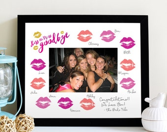 Kiss the Miss Goodbye Photo Mat - Bachelorette Party Keepsake 8x10 - Print and Frame - Bachelorette Game - 4x6 DIY Photo - Instant Download