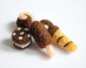 Needle felted miniature doll food - Wool cake, ice cream, fruit pancake, blythe food, fashion doll food, doll house