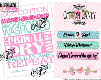 Cotton Candy Care Instructions PNG JPG Download File Wash Instructions Tag Label