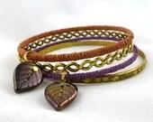 Calming Leaf Bangle Bracelet Set- Neutral Colors- Hemp & Vinage Gold