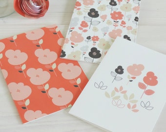Sophia Floral Notelet Set, Note Cards, Stationery, Thank You Cards, Blank Cards, Stocking Fillers