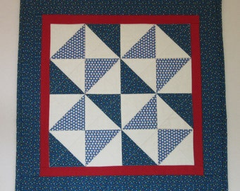 """Doll Quilt, 19.5"""" x 19.5"""", Blue, White, Red, Calico, Fool's Square Quilt, Free Pillow"""