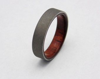 Koa Wood ring with blasted Titanium