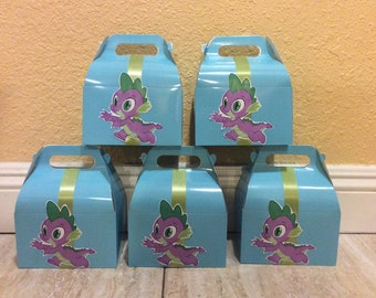 My Little Pony Spike  Birthday Party Candy Box- Favor Box- Spike favor boxes