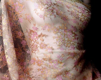 Rose Pink Chantilly French Lace Fabric with Metallic Gold Floral Embroidery Lace Half Yard for DIY Bridesmaid dress Shawl Flower Girl Skirt