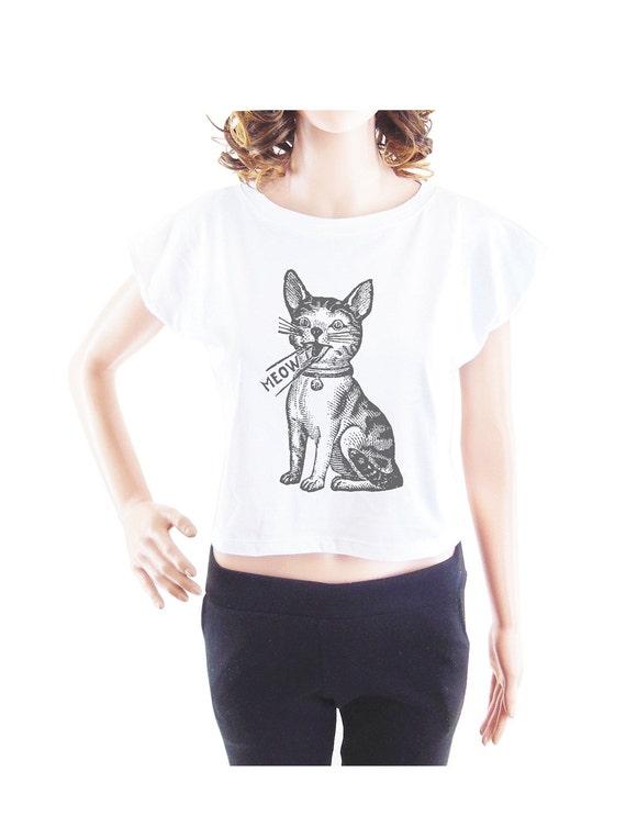Meow tshirt cat shirt animal tshirt women t shirt crop top crop shirt size S