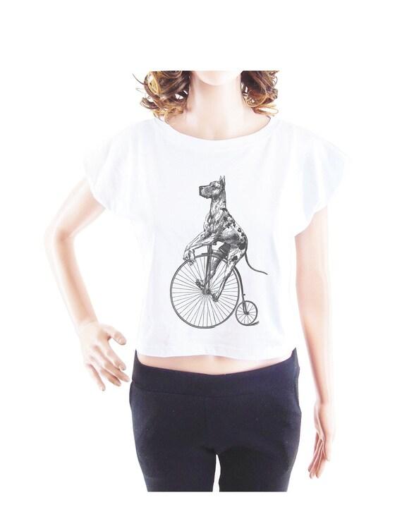 Great Dane on Big Wheel Bike tshirt women tshirt crop top crop shirt size S