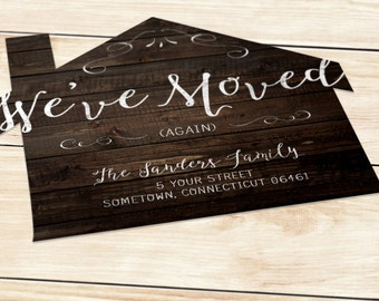 Wooden House Moving Announcement (5 x 5.5 inches) - Printable