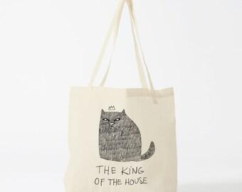 Tote Bag Cat, The King Of The House, Cotton bag, sports bag, yoga bag, baby bag, groceries bag, school bag, novelty gift, canvas bag.