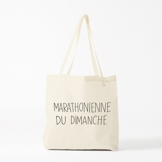 Tote bag Marathonienne, canvas bag, funny quote, groceries bag, gift for coworker, shopper bag, laptop bag, novelty gift, canvas tote.