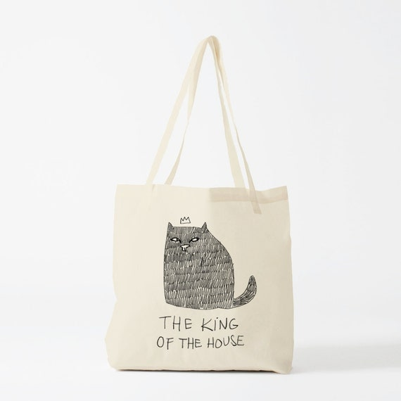 Tote Bag Cat, The King Of The House, Cotton bag, sports bag, yoga bag, baby bag, groceries bag, school bag, novelty gift, canvas bag.