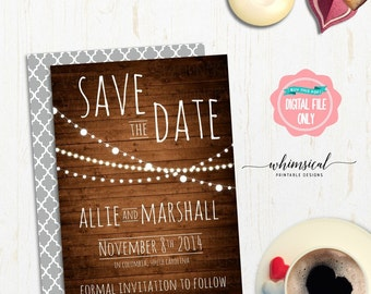 "Save the Date ""Lights Trio, Wood"" (Printable File Only) Simple Elegant Wedding Calendar Date Pre-Invite Wood Rustic Country Mark Calendar"