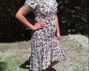 Country dress, sweet cotton dress, small,boho dress,lace trims