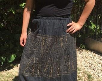Maxi skirt, black,gold, long ,prairie skirt, medium,boho skirt