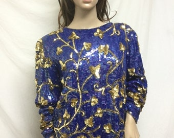 Free Ship, Sequin top, Beaded Top, Royal Blue, Gold,Large,beaded,sequin