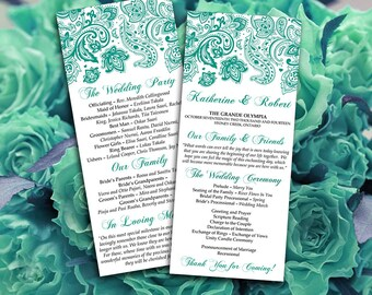 "DIY Wedding Program Template Teal Green ""Pretty Paisley"" Printable Tea Length Program DIY Wedding Template Order of Service"