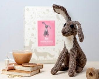 Hare Crochet Kit - Amigurumi Crochet Hare Kit - craft set gift - crochet hare project - hare craft kit for adults - textiles project