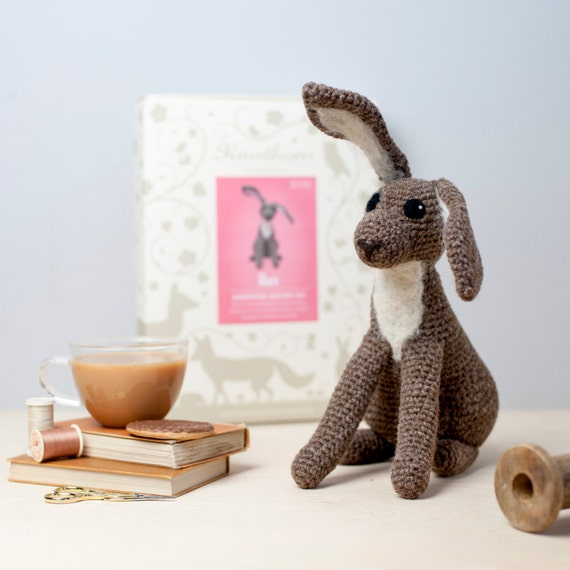 Hare Crochet Kit - Amigurumi Crochet Hare Kit - craft set gift - crochet hare project - hare craft kit for adults - textiles project