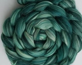 Merino-Silk Wool Roving / Combed Top / Wool in Mojito (DHG)  - 4 ounces