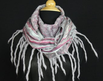 Merino Wool Silk Blend Cobweb Felted Scarf with wool fringe - Jazz (70/30 merino silk)