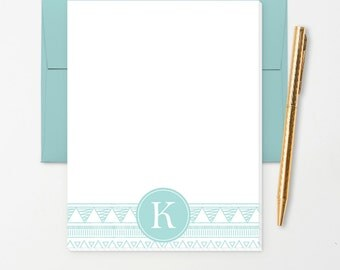 Personalized Note Pad // Teal Aztec Doodle with Monogram Initial // S109
