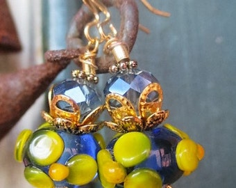 Handmade Earrings with Artisan SRA Lampwork Beads with Bumpy Raised Flowers.
