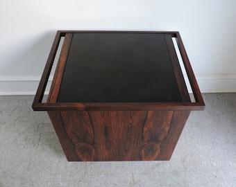 Kai Kristiansen mid century Danish modern hydraulic rosewood bar cart table