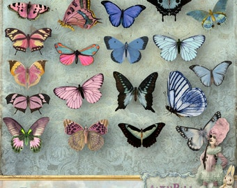 Butterflies 2 - Digital Collage Sheet ATC png - Printable Instant Download