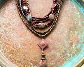 Boho chic necklace, Jasper necklace, Amber necklace, amethyst necklace, boho necklace, victorian necklace, multi strand necklace