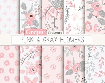 """Pink digital paper """"PINK & GRAY FLOWERS"""" vintage, digital flower patterns, floral background, pink grey, pink flowers, floral pattern spring"""