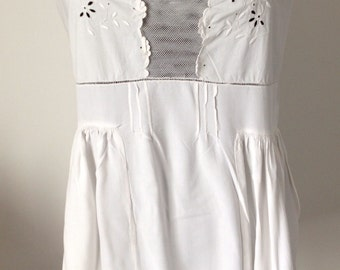Old cotton babydoll, lace, embroidery, white, size 36/S
