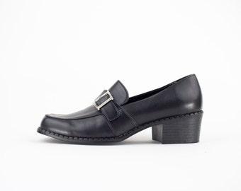 90s Vintage Mary Jane Heels | Vegan Leather Monkstrap Buckle Shoe | Womens Size US 7 UK 5 Euro 37 - 38