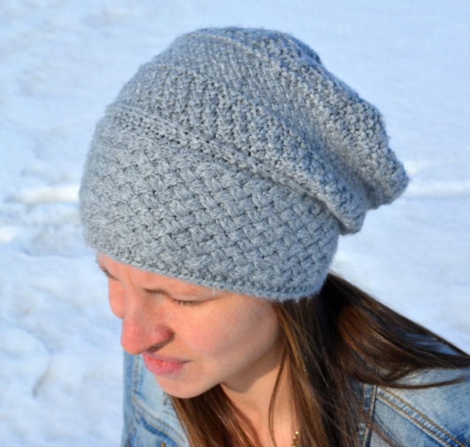 Adult Knit Hat Pattern : KNITTING PATTERN PDF Adult Slouch Hat Knit pattern slouch