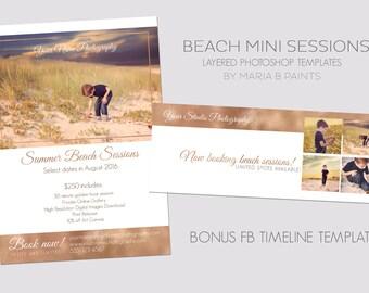 INSTANT DOWNLOAD, Mini Session Postcard, Photography Template, Flyer, Beach Minis, Kids, 5x7, Photoshop, Elements, Easy, Bonus FB Timeline