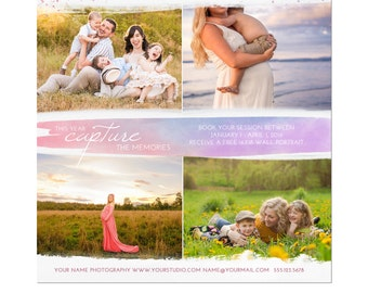 INSTANT DOWNLOAD, New Years Marketing Photography Template, Marketing Template, New Year, Watercolor, Portrait Marketing, Pastels, Family