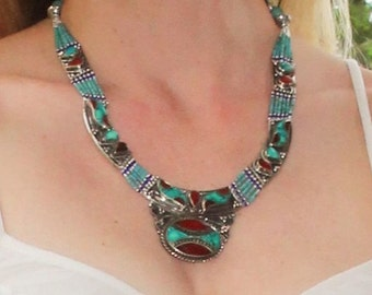 Turquoise necklace, Boho necklace, Tribal necklace, coral necklace, vintage necklace, birthstone necklace, Tibetan necklace,Country western