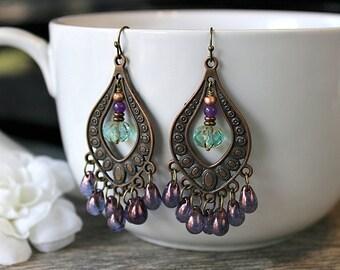 Antiqued Copper Purple Mint Chandelier Earrings,  Violet Bohemian Dangles, Long Boho Earrings, Gypsy Jewelry