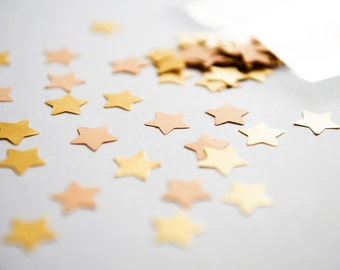 300 Gold and Peach Confetti. Set of Peach and golden Star confetti - Wedding Table Scatter - baby shower - Party supplies Die cut star mix